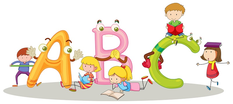 Font ABC and happy children illustration